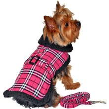 Doggie Design Plaid Sherpa Fleece Lined Dog Harness Coat - Hot Pink & Black