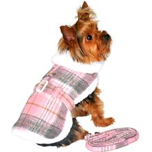 Doggie Design Plaid Sherpa Fleece Lined Dog Harness Coat - Pink & White