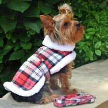 Doggie Design Plaid Sherpa Fleece Lined Dog Harness Coat - Red & White