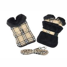 Plaid Fur-Trimmed Dog Harness Coat by Doggie Design - Camel and Black