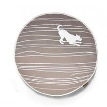 P.L.A.Y. Dog on Wire Round Dog Bed - Almond and White