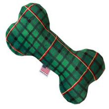 Plush Bone Dog Toy - Green Plaid