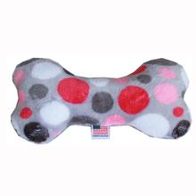Plush Bone Dog Toy - Pink Party Dots