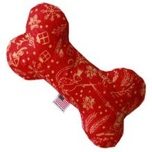 Plush Bone Dog Toy - Red Holiday Whimsy