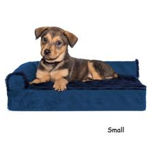 FurHaven Plush & Velvet Deluxe Chaise Lounge Orthopedic Sofa-Style Pet Bed - Deep Sapphire