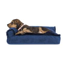 FurHaven Plush & Velvet Deluxe Chaise Lounge Pillow Sofa-Style Dog Bed - Deep Sapphire