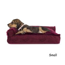 FurHaven Plush & Velvet Deluxe Chaise Lounge Pillow Sofa-Style Dog Bed - Merlot Red