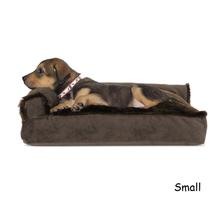 FurHaven Plush & Velvet Deluxe Chaise Lounge Pillow Sofa-Style Dog Bed - Sable Brown