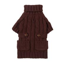 Pocket Cable Knit Dog Sweater - Brown