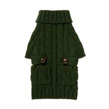 fabdog® Pocket Cable Knit Dog Sweater - Hunter Green