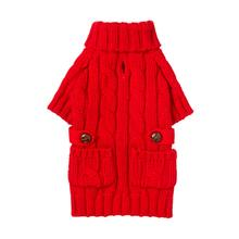 fabdog® Pocket Cable Knit Dog Sweater - Red