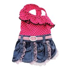 Polka Dot Denim Skirt Dog Outfit