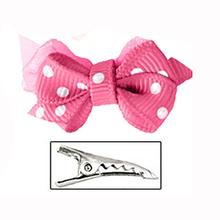 Polka Dot Dog Bow with Alligator Clip  - Hot Pink
