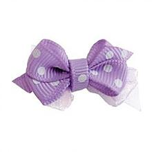 Polka Dot Dog Bow with Alligator Clip  - Light Orchid