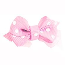 Polka Dot Dog Bow with Alligator Clip  - Pearl Pink