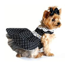 Polka Dot Dog Harness Dress by Doggie Design - Black and White