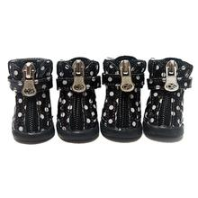 Polka Dot Hiker Dog Boots - Black