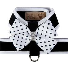 Polka Dot Nouveau Bow Tinkie Dog Harness with Trim - Black & White