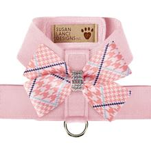 Peaches & Cream Glen Houndstooth Nouveau Bow Tinkie Dog Harness by Susan Lanci - Puppy Pink