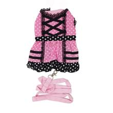 Polka Dot Princess Lace-Up Dog Harness Dress by Cha-Cha Couture - Pink and Black