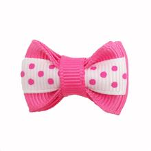 Polka Dot Stripe Dog Bow with Alligator Clip  - Hot Pink