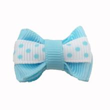 Polka Dot Stripe Dog Bow with Alligator Clip  - Light Blue