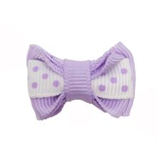 Polka Dot Stripe Dog Bow with Alligator Clip  - Light Orchid