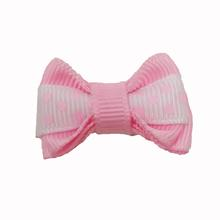 Polka Dot Stripe Dog Bow with Alligator Clip  - Pearl Pink