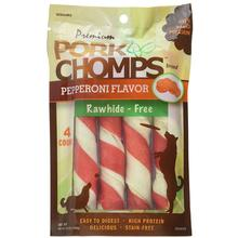 Pork Chomps Large Twists Dog Treats - Pepperoni
