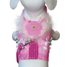 Posh Princess Dog Harness Vest with Leash by Cha-Cha Couture - Pink
