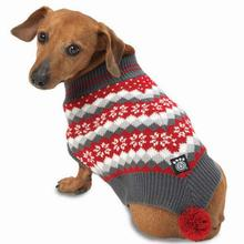 Prancer's Knit Dog Poncho - Holiday Red