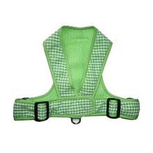 Precision Fit Gingham Dog Harness - Green