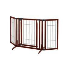 Premium Plus Freestanding Dog Gate - Cherry Brown