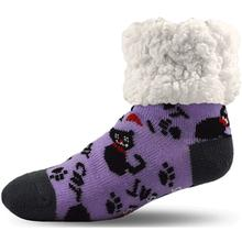 Pudus Human Slipper Socks - Cat Purple