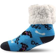 Pudus Human Slipper Socks - Dog Blue