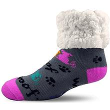 Pudus Human Slipper Socks - Dog Grey