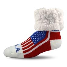 Pudus Human Slipper Socks - USA Pride