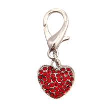 Puffy Heart D-Ring Pet Collar Charm by foufou Dog - Red