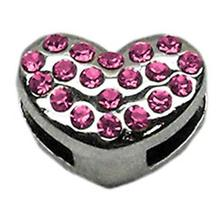 Puffy Heart Slider Dog Collar Charm - Pink