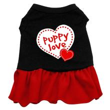 Puppy Love Screen Print Dog Dress - Black with Red Skirt