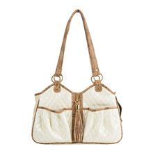 Quilted Luxe Metro Tassel Dog Carrier by Petote - Ivory Pearl with Snakeskin