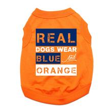 Real Dogs Wear Blue and Orange Dog Shirt - Orange