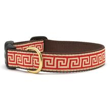 Red Greek Key Dog Collar by Up Country