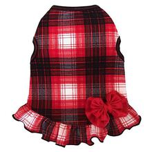 Red Plaid Dog Dress with Bow