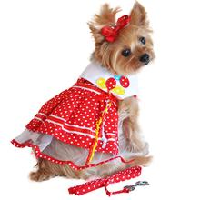 Red Polka Dot Balloon Designer Dog Harness Dress by Doggie Design
