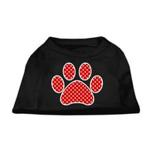 Red Swiss Dot Paw Dog Shirt - Black