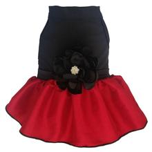 Red Taffeta Dog Dress with Rhinestone Satin Flower