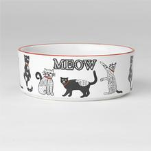 Retro Meow Stoneware Cat Bowl