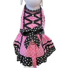 Polka Dot Princess Lace-Up Dog Harness Dress - Pink and Black