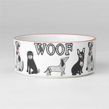 Retro Woof Stoneware Dog Bowl